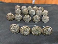 """Vintage 19 Lot Floral Bronze Brass Metal Cabinet Furniture Knobs Pulls 1 1/4"""""""