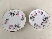 Dutchess England Floral Bone China Replacement Plate and Saucer Roses Pair