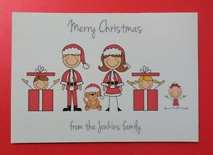 10 Personalised Christmas Cards - Family Figures - Pack of 10 - Handmade