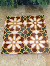"Set of 2 VINTAGE 8"" Encaustic TILES with FLORAL DESIGN GREEN AND RED"