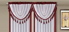 AMY 1PC Burgundy White Faux Silk Rod Pocket Swag Waterfall Dressing Valance
