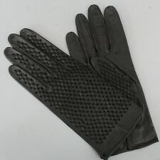 New listing Vintage Black Leather Perforated Short Gloves Size 7.5
