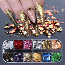 12 Colors/Box Metallisch Nail Art Folie Aufkleber Colorful Flakies Nagel Tips