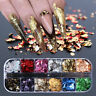 12 Colors/Box Metallisch Nail Art Folie Aufkleber Colorful Flakies Nagel Tips