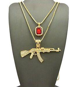 "MEN'S Iced AK-47 RIFLE GUN & RED RUBY PENDANT W 24"" 30"" CHAIN NECKLACE K434G"