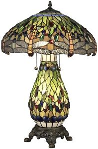 Tiffany Style Glass Jewel Stained Art Shade Dragonfly Table Lamp w/ Lit Base New