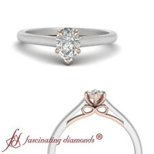 Half Carat Pear Shaped Diamond Two Tone Gold Single Solitaire Engagement Ring