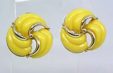 Vintage Estate Clip On Earrings Bright Yellow Thermoset Lucite Swirl SilverTone
