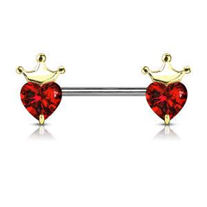 PAIR Heart CZ Gem w/ Crown Nipple Rings Shields Steel Barbells
