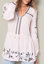 Venus Embroidered Peasant Blouse Light Pink V Neck Size Medium