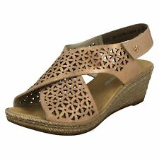 Ladies Rieker 62484 Rosa Leather Wedge Heeled Sandals