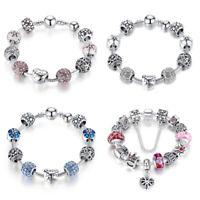 Christmas DIY European 925 Silver Charms Bracelets Blue Murano CZ Bead For Women
