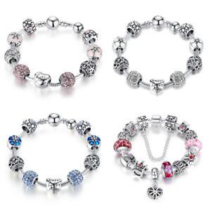 Christmas DIY European Silver Charms Bracelets Blue Murano CZ Bead For Women