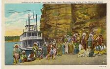 Indians & Steamer DELLS of WISCONSIN Near Stand Rock Amphitheatre 1941 Postcard