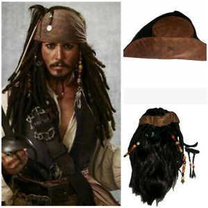 Pirates of the Caribbean Captain Jack Sparrow Cosplay Brown Wig Hat Beard Prop