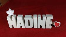 Beton, Steinguss Buchstaben 3D Deko Namen NADINE als Geschenk verpackt!