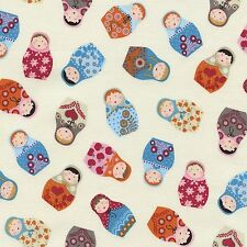 Fabric Russian Dolls Tossed on Ivory Cotton 1/4 Yard