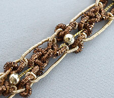 "Handmade, Bronze & Light Gold Trim. Braid. 3 Yards. 1/2"" wide"