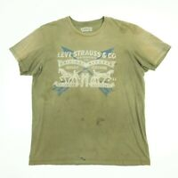 Destroyed LEVIs T-Shirt LARGE Sun Faded Distressed Paint Work Chore Grunge