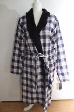 UGG Australia Mens Kalib Cotton Flannel Fleece Lined Robe Plaid Navy Size Large