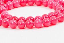 8mm HOT PINK Round Dyed Candy Jade Gemstone Beads, full strand, 52 beads gjd0050