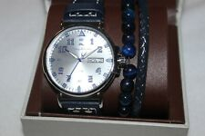 Tommy Bahama Stainless Steel Water Resistant Blue Band Watch with Bracelet NIB