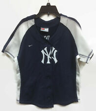 Nike Team New York Yankees Jersey Blue & Gray Stitched Embroidered Youth Medium