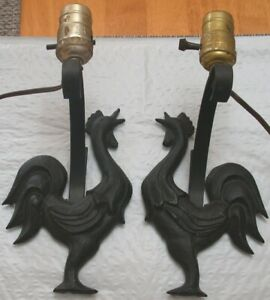 Pair of Vintage L. Mendelson Cast Iron Crowing Roosters Wall Sconces Lamp Light