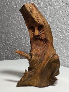 Signed Junior Cobb 1983 Folk Art Wood Hand Carving Sculpture Old Man Tree Spirit