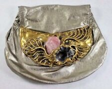 Vtg Metallic Brutalist Suede Leather Purse with Large Rose Quartz Stone