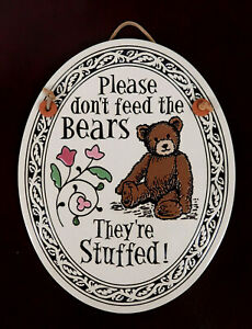 Spooner Creek Michael Maccone Wall Plaque-Please Don't feed the Bears