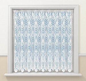 WINDOW PRIVACY LUXURY OSLO BRIGHT WHITE FAN LACE NET CURTAIN SOLD PER METRE