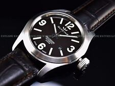 New Old Logo Glycine 46mm Swiss ETA 2824 Auto Coffee Dial Sapphire SS Watch 3874