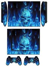 Skin Sticker PS3 PlayStation 3 Super Slim and 2 controller skins Blue Fire Q256