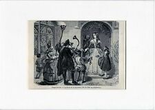 Antique matted print: christmas queen England 1850 woodcut