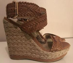 STUART WEITZMAN Alex Cognac Tan Braided Wedge Sandals SZ 6.5 MSRP $345 EUC