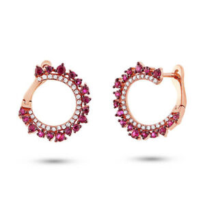 0.87CT 14K Rose Gold Round Red Ruby & Diamond Unique Circle Cuff Huggie Earring