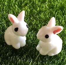 Mini Succulent Fairy Garden Figurines 2X Bunny Rabbits