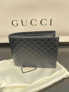 NEW Gucci Mens Blue Micro Guccissima Leather Bi-fold Wallet 367287