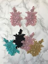 1 Pair Lace Applique Embroidery Motif Flower DIY Rhinestone Embellished 14.5cm