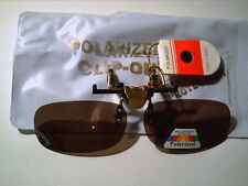 SMALL CLIPS ON RX FLIPS UP POLARIZED BROWN SUNGLASSES cuts glare driving fishing