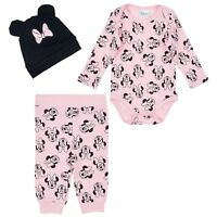 Disney Minnie Mouse Baby Girls Outfit Clothes Gift Set Bodysuit Trousers Hat 3pc