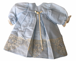 American Girl Doll Clothes Handmade Dress Baby Blue w/Beige Lace/Ribbon Vintage