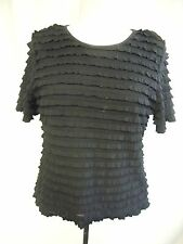 Ladies top Country Casuals black with frills, size M petite, stretch, lined 1818