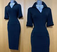 KAREN MILLEN UK 12 Black Stretch Jersey Shirt Style Low Waist Midi Dress EU 40