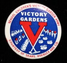 """""""Victory Gardens V"""" WWII Era Pin by Sears Roebuck & Co."""