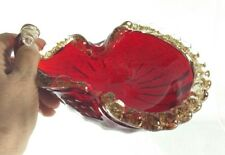 "Vintage 1950s Bubbled Red Murano Ashtray w Embedded Gold In Clear Trim 7.5"" EXC"