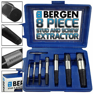 BERGEN Screw And Stud Extractor Set 3-26mm Remove Broken Damaged Studs Screw 8pc