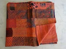 Indian Kantha Patchwork Quilt Cotton Bedspread Handmade Twin Crazy Blanket Throw
