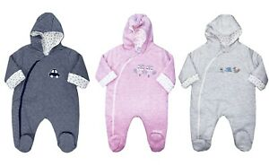 Baby Boy Girl Snowsuit Pram Suit All In One Coat Hooded Pink Blue White